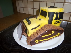 Bagger Bulldozer Planierraupe Cake Kuchen